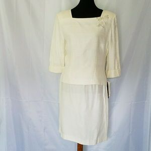 VINTAGE SKIRT SET IVORY with silver threads